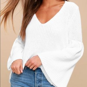 Free People White Bell Sleeve Sweater